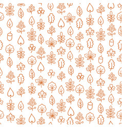 Autumn leaves seamless pattern leaf icon set in vector