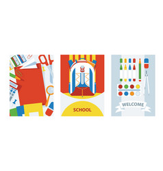 back to school cards background with school vector image