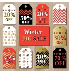 Big sale printable card template with golden red vector
