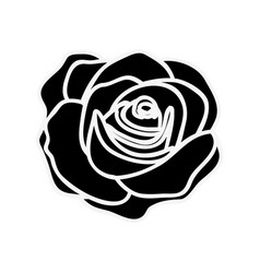 Black silhouette with rose flower vector