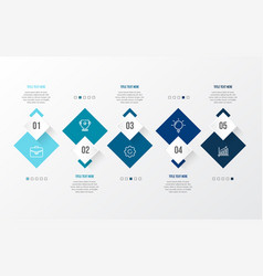 blue modern infographic with 3d table vector image