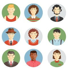Boys and men faces icons in flat style vector