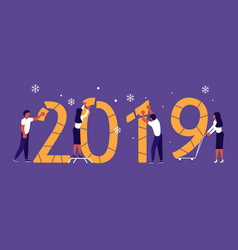 building a numbers 2019 vector image