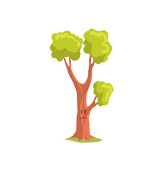 cartoon character of forest tree with sad face vector image