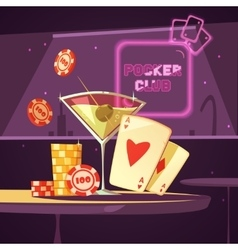 Casino Poker Club Retro Cartoon vector image