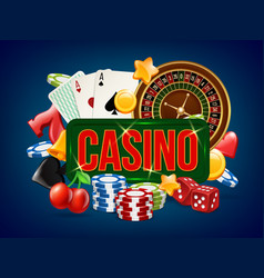 casino poster advertising poker dice bowling vector image