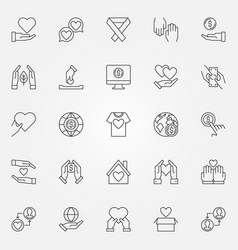 Charity and donation outline icons set vector