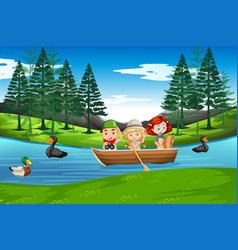 children paddle on wooden boat vector image