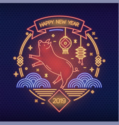 chinese new year banner template with funny pig vector image