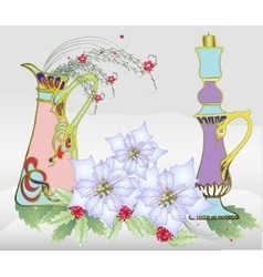 Christmas Card with White Poinsettia and Vase vector
