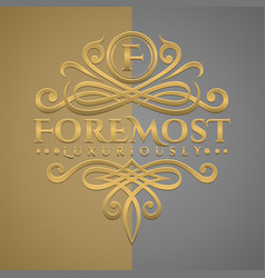 Classic luxurious letter f logo with embossed vector