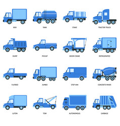 collection of truck icons in flat style vector image