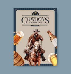 Cowboy poster design with man horse beer vector