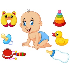 Cute baby with baby toys collection set vector image
