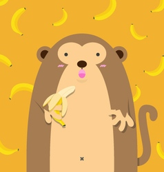 cute big fat monkey with banana vector image