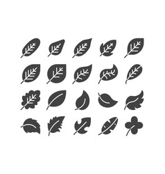 Diagonal leaf solid glyph icon set autumn fall vector