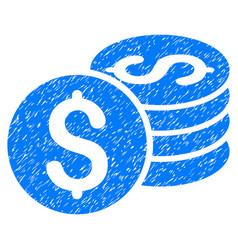 Dollar coin stack grunge icon vector
