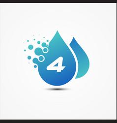 droplet design with letter 4 symbol design vector image