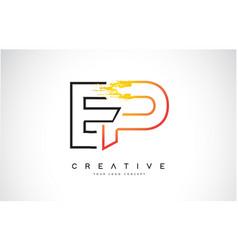 Ep creative modern logo design with orange and vector