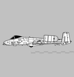 fairchild republic a-10 thunderbolt ii vector image