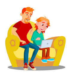 father and son using laptop on the sofa vector image