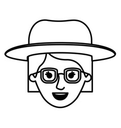 female face with glasses and hat and short vector image