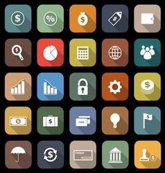 Finance flat icons with long shadow vector