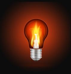 Fire in light bulb vector