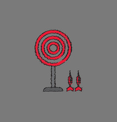 Flat target and darts eps 10 in hatching style vector