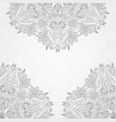 floral hand drawing background with lace ornament vector image
