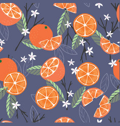fruit seamless pattern oranges with branches vector image