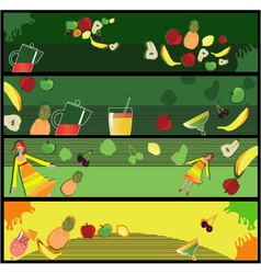 Fruit smoothie banners vector