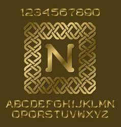 golden letters and numbers monogram in frame vector image