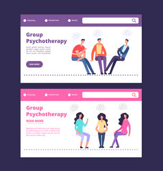 group psychotherapy web banners template male and vector image