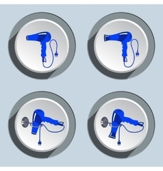 Hairdryer with two-pin plug icons set vector image