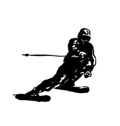 hand brush sketch of a skier vector image