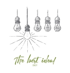 Hand drawn hanging light bulbs with one shining vector