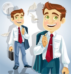 Happy businessman is going home vector image