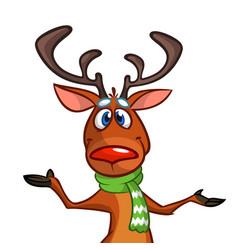 Happy cartoon christmas reindeer vector