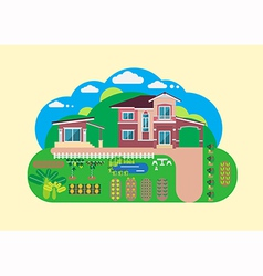 House and garden yard vector