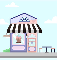 Ice cream shop store front building background vector