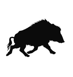 Image black silhouette one running wild boar vector