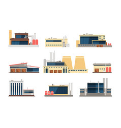 Industrial factory power plant and warehouse vector