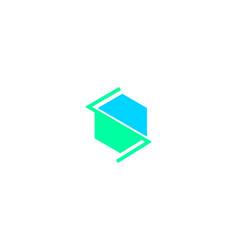 initial s letter hexagonal logo vector image