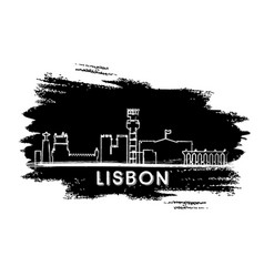 Lisbon skyline silhouette hand drawn sketch vector