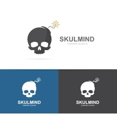 logo combination of a skull and bomb vector image