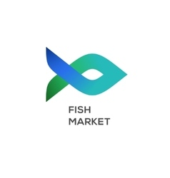 Logo of fish market label and badge vector image