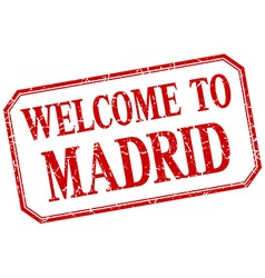 Madrid - welcome red vintage isolated label vector