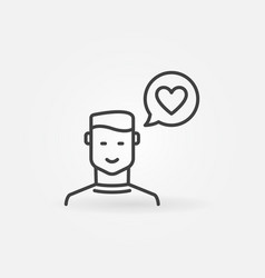 man with heart in speech bubble outline vector image