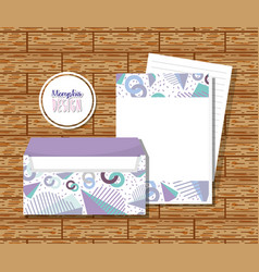 Memphis envelopes mock up vector